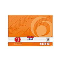 Тетрадь для нот Herlitz А5 8 листов альбомный формат желтая (11335650)
