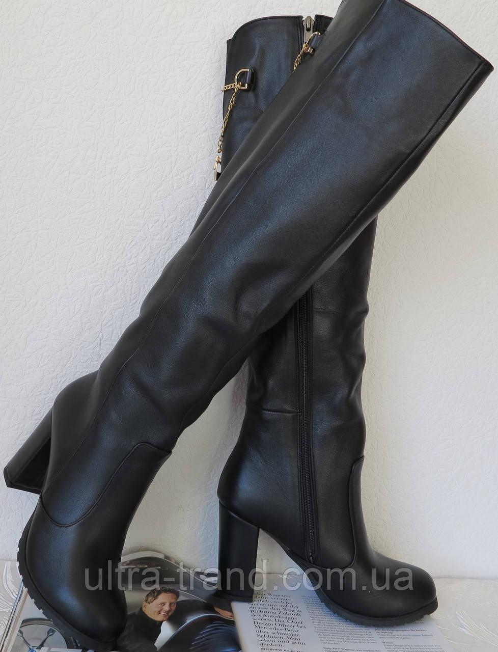 Senso! Женские кожаные чёрные ботфорты на каблуке 10 см евро зима