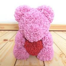 Мишка Тедди из искусственных цветов на подарок розовый с красным сердечком 3D в подарочной упаковке