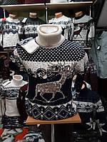 Мужской теплый новогодний свитер с оленями гольф
