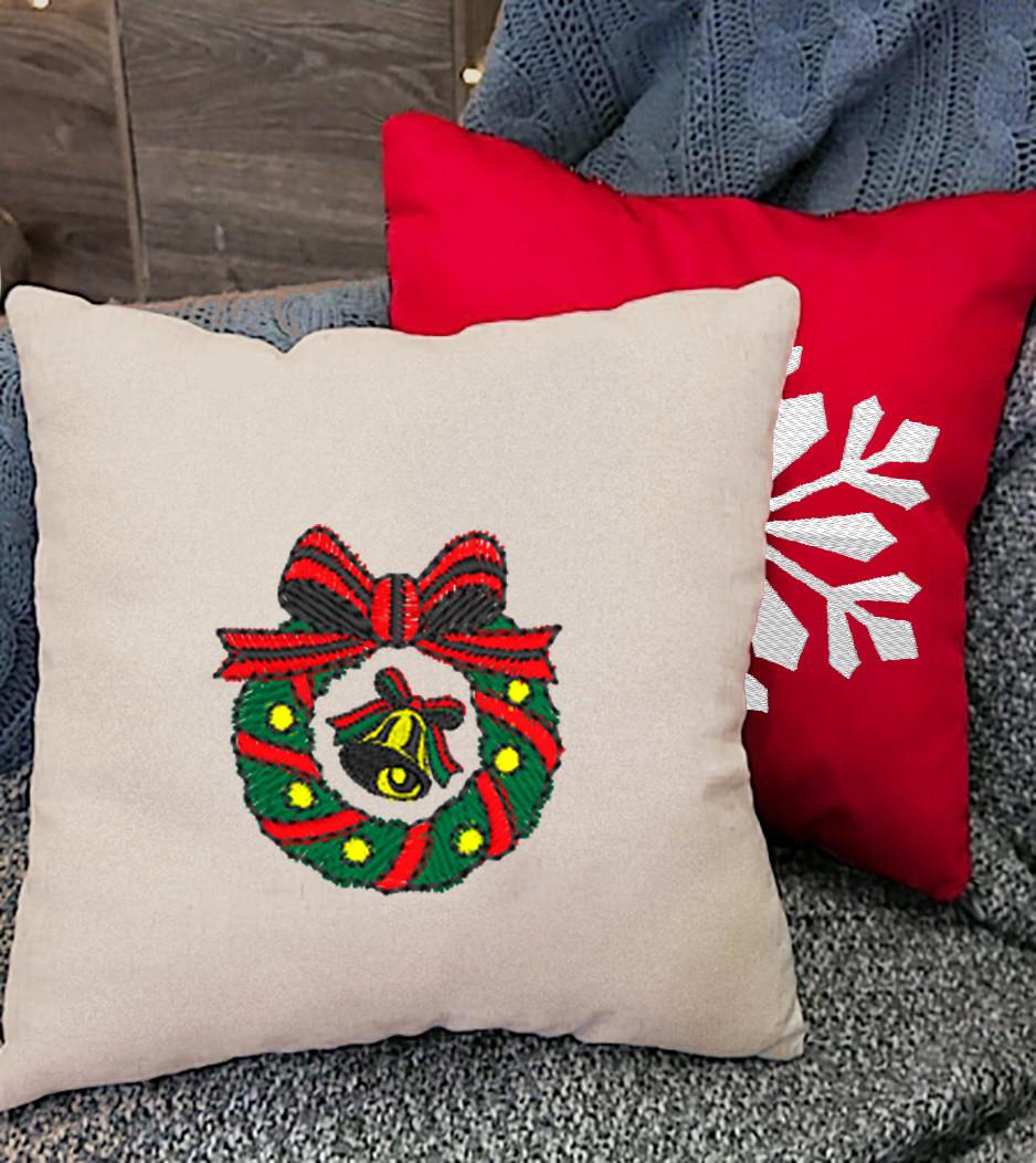 """Новогодняя подушка """"Рождественский венок""""  17"""