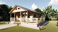 Дом двухуровневый с мансардой из профилированного бруса 8,0х8,0 м. Кредитование строительства деревянных домов
