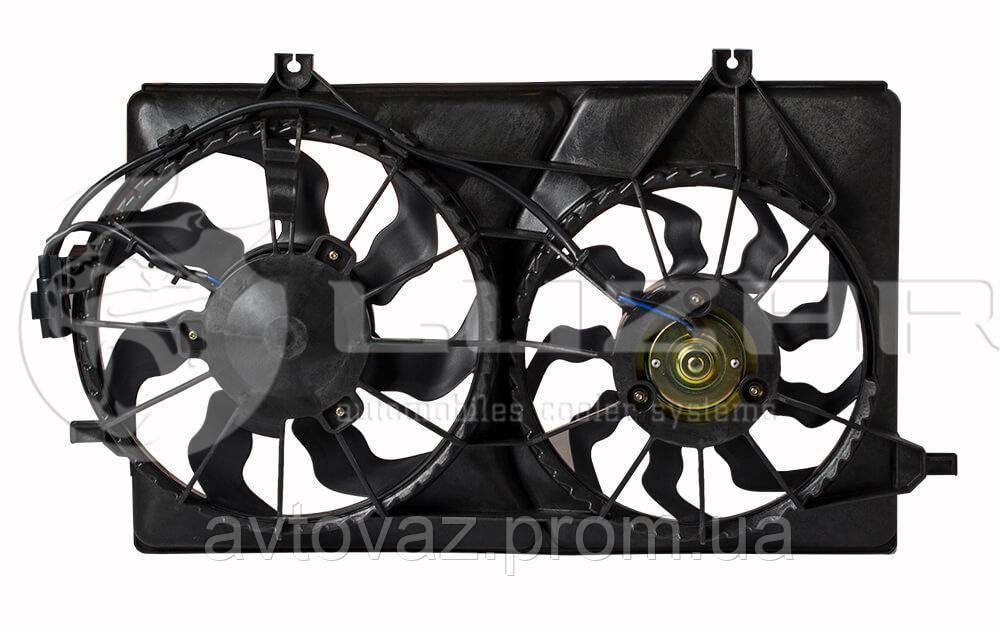 Мотор охлаждения радиатора ВАЗ 2170 Приора (2 ВЕНТИЛЯТОРА) HALLA с кожухом ЛУЗАР LFK 01270