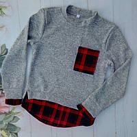 Рубашка-обманка на девочку, трикотаж ангора, размер 128-152, серый+красный