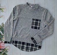 Рубашка-обманка на девочку, трикотаж ангора, размер 128-152, серый+черный