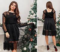Платье двойка нарядное кружевное в расцветках 25955, фото 1