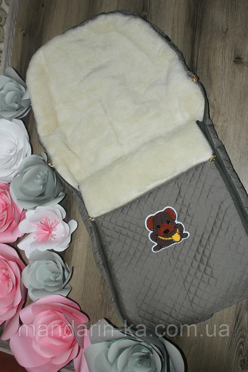 Детский  зимний  конверт  на овчине цвета  в ассортименте