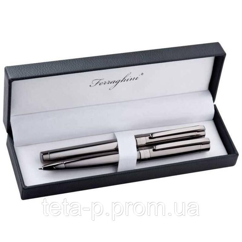 Элегантный набор для письма из роллера и ручки с поворотным механизмом Ferraghini
