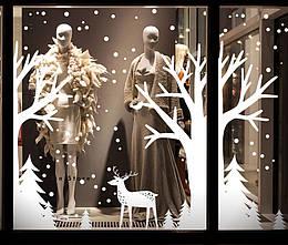 """Новорічний декор вітрини """"Зимовий ліс"""". Купити прикрасу для вітрини до Нового року."""