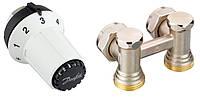 Комплект с термоголовкой для нижнего подключения радиатора М30х1,5 угловой 013G5276 Danfoss