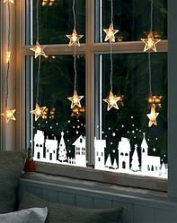 """Вінілова наклейка """"Зимове місто"""" прикраса вітрин до нового року"""