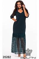 Красивое элегантное платье в пол прямой крой с кружевами фабрика Украина Balani большой размер 48-62