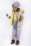 Детский очень тёплый костюм тройка: жилетка, кофта, брюки ( трех нить с начесом на флисе) жилет на синтепоне, фото 3