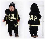 Детский очень тёплый костюм тройка: жилетка, кофта, брюки ( трех нить с начесом на флисе) жилет на синтепоне, фото 4