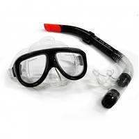 Набор для плавания маска стекло и трубка с клапаном Dolvor