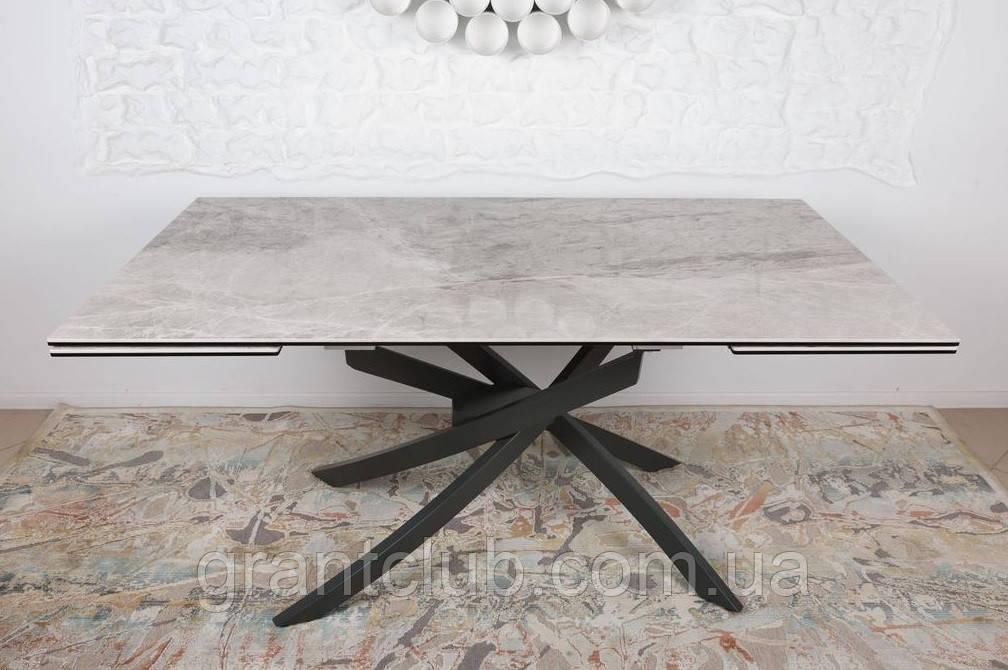 Стіл LINCOLN 160/240 см кераміка світло-сірий глянець (безкоштовна доставка)