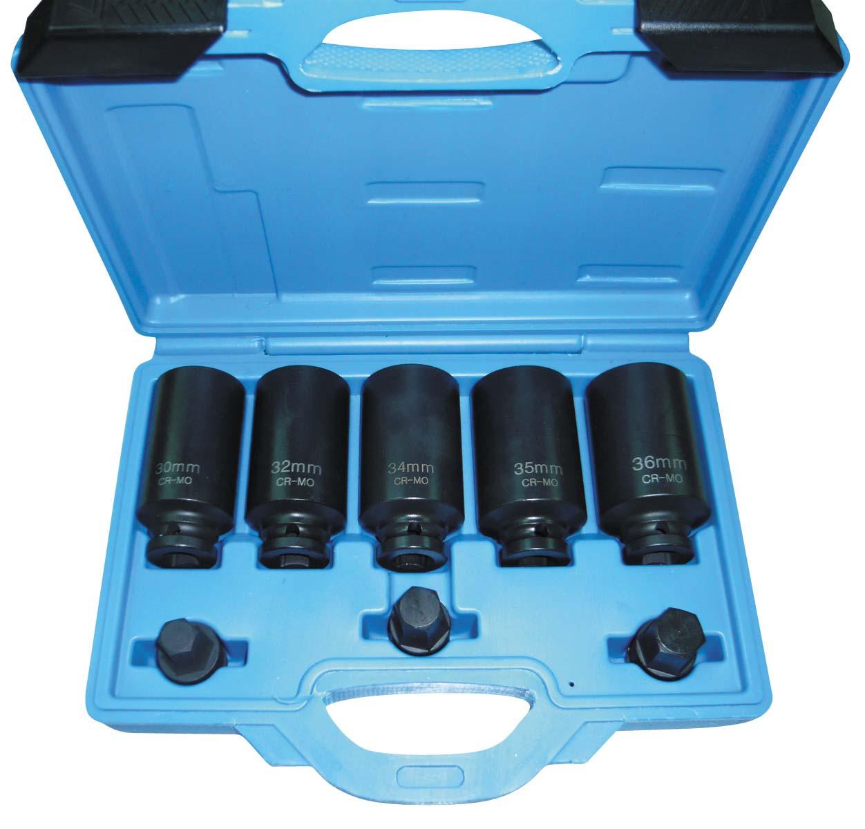 Набор ударных Cr-Mo головок 30-36мм длинных + HEX, 8ед. ASTA A-S8P