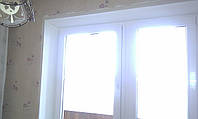 Откосы на пластиковое двухстворчатое окно из гипсокартона