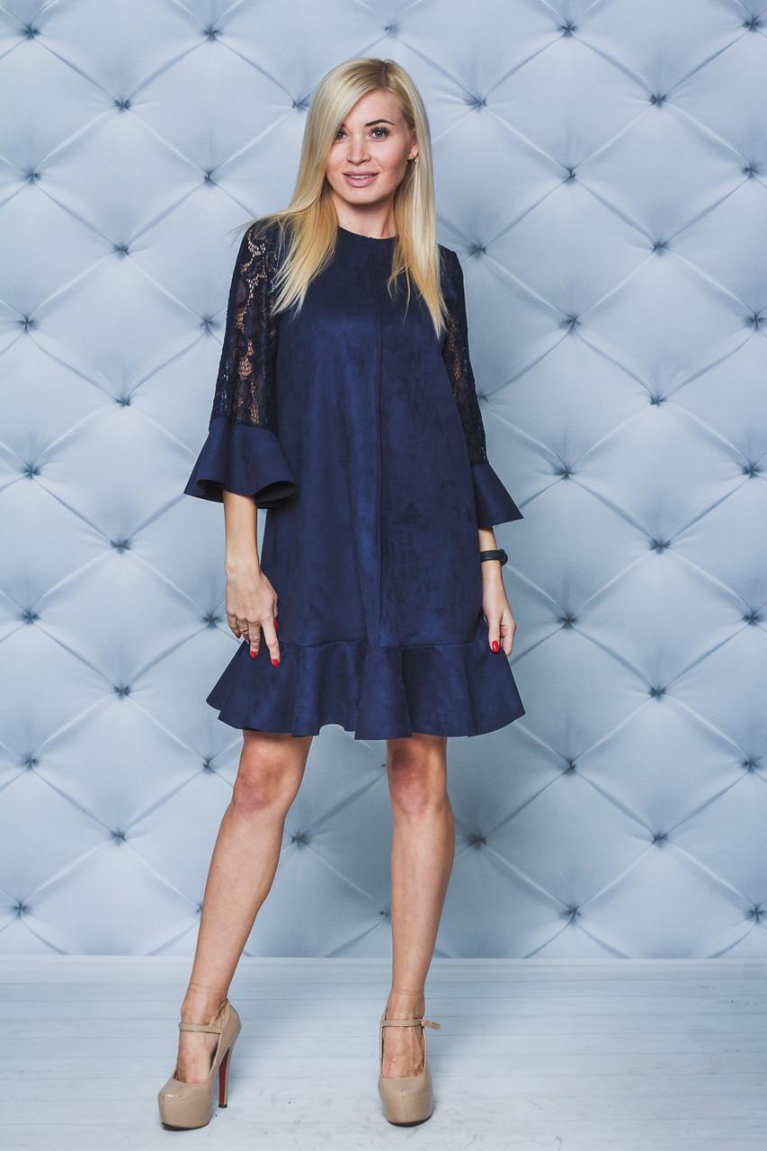 Нарядное женское платье т-синее