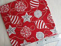 Хлопковая ткань Новогодние игрушки на красном 50*50 см