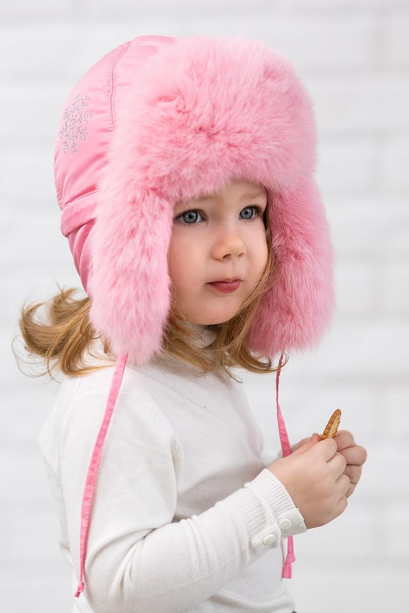 Шапка ушанка для девочки меховая Heppi (46–58р) в расцветках