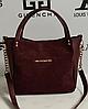 Женская сумка Michael Kors замшевая, цвет бордовый, 059235