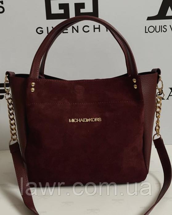 6fba022a01b1 Женская сумка Michael Kors замшевая, цвет бордовый, 059235 -  Интернет-магазин