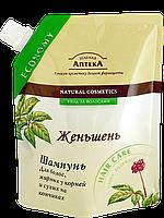Шампунь для волос, жирных у корней и сухих на кончиках «Женьшень» дой-пак Зеленая аптека 200мл