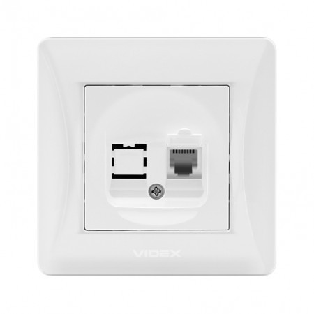 VIDEX BINERA Розетка белая CAT3 одинарная телефонная (VF-BNSK1TF3-W) (20/120)
