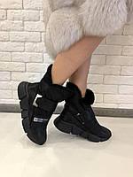 """Ботинки  """" липучка черная """" натуральная кожа  код  2497, фото 1"""