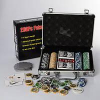 Настольная игра M 2779 покер,200фиш(11,5г-с номин),2кол.карт,кубик,в чемодане(алюм),30-20-8см