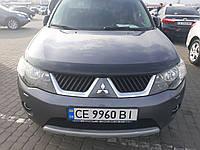 Дефлектор капота (мухобойка) на HIC  Mitsubishi Outlander XL 2010->