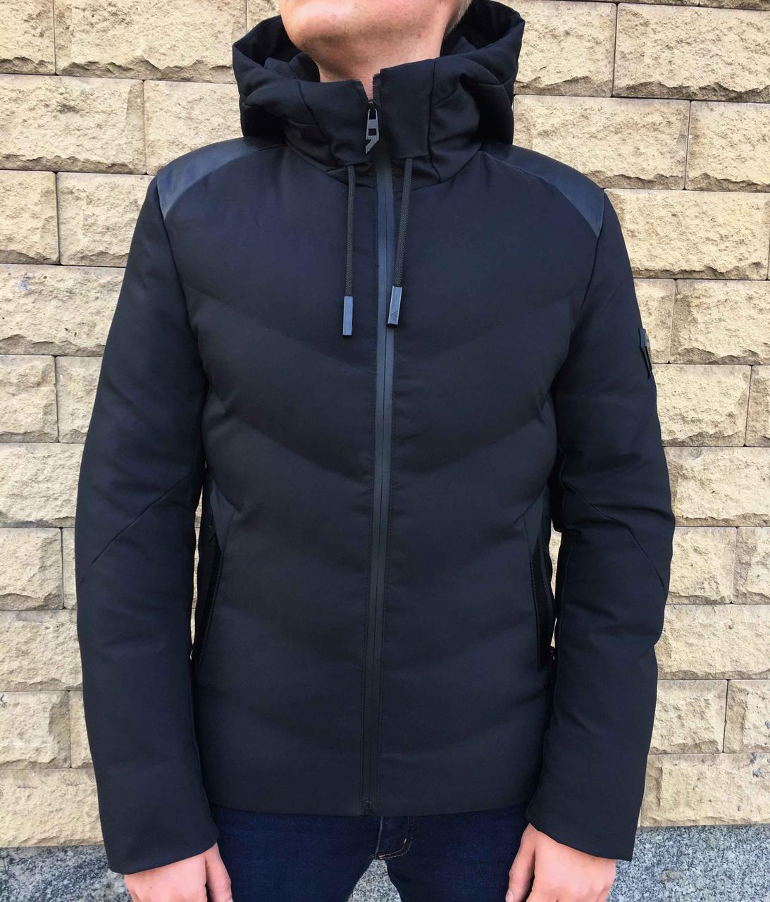 Зимняя короткая черная куртка в стиле  Emporio Armani  50 размер