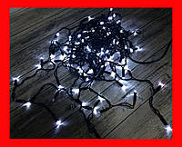 Новогодняя гирлянда уличная Бахрома LED 480 белая, чёрный провод