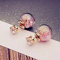Серьги/сережки круглые прозрачные шарики с кристаллами нарядные «Color style» (розовый)