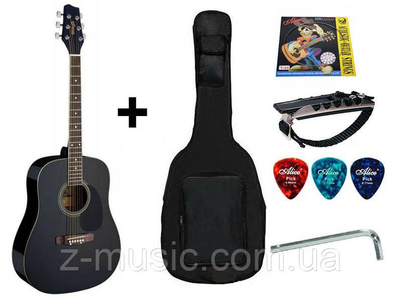 Акустическая гитара (4/4) STAGG (чехол+капа+медиатор+струна+ключ)