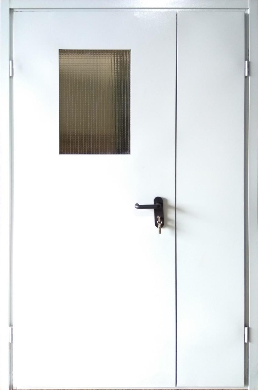 Двери входные МЕТАЛЛИЧЕСКИЕ с окном для дачи в кладову,  двери входные двойные 1,20 на 2,05