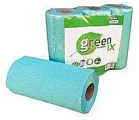 """Полотенце бумажное зеленое/розовое с перфорацией """"Green ix"""". Упаковка 3 рулона + видео, фото 1"""
