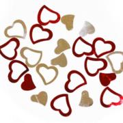 Декоративные блестящие сердечки 13мм, 0,5кг красные+серебро микс,в пак.25*18см (8881)