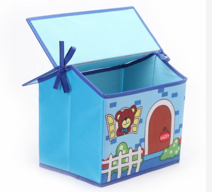 Короб Домик - органайзер для игрушек и вещей голубой