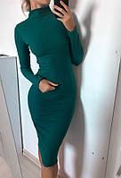 Платье женское изумрудное