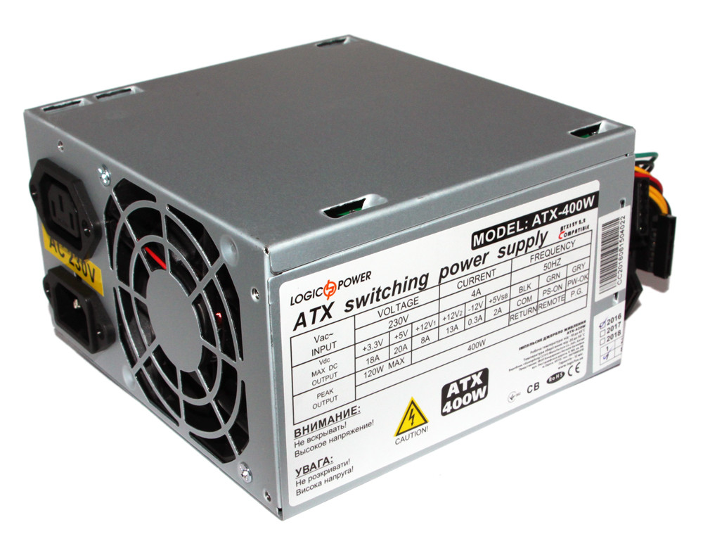 Блок питания LogicPower 400W ATX-400W, 80 mm, 20+4pin, 1x4pin, SATA х 2, Molex 2