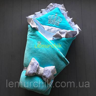 Конверт-одеяло на махре с капюшоном Корона, мятный