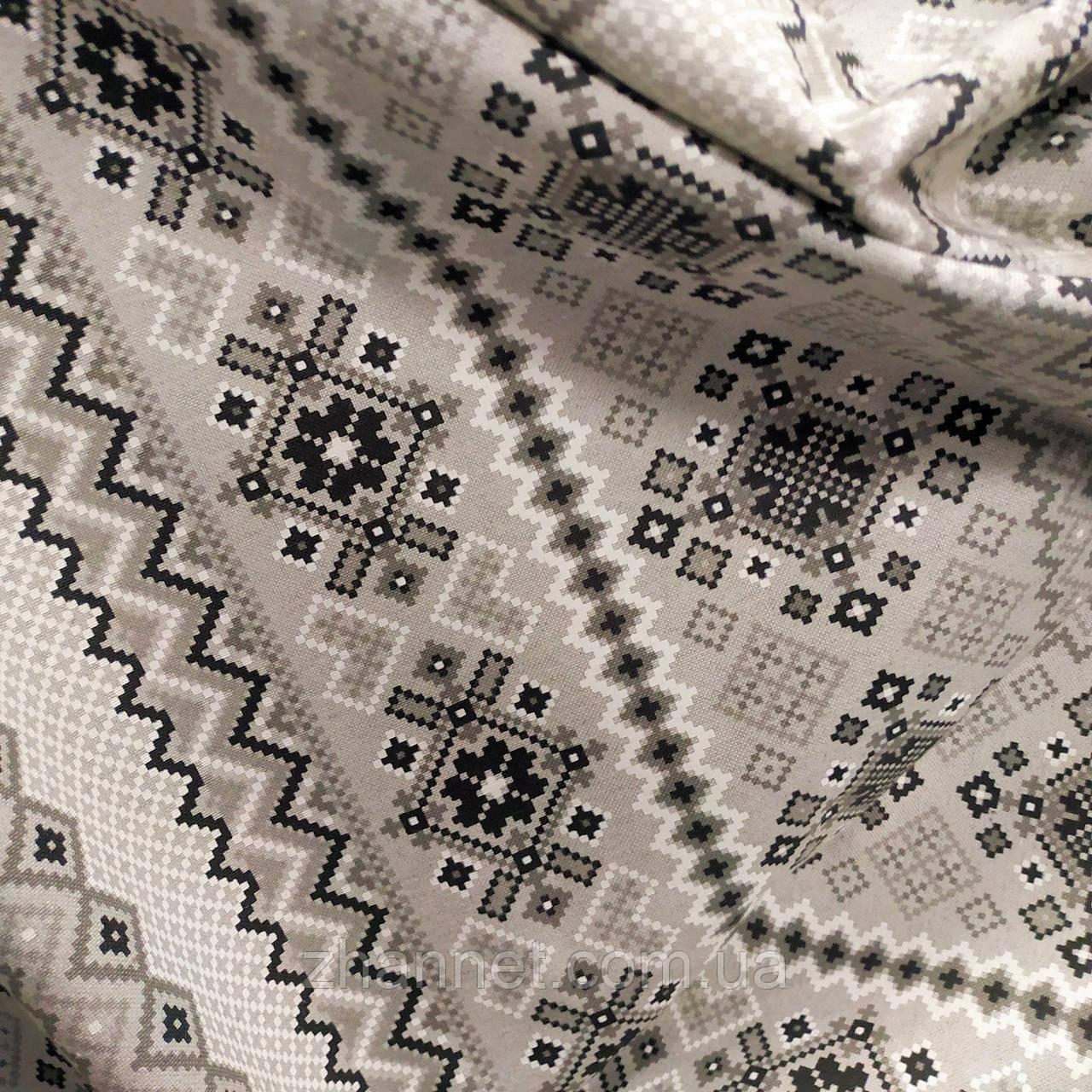 Новогодняя ткань Scotland орнамент серый 280 см (957451)