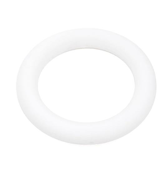 Кольцо большое (белое) 65мм, силиконовая бусина