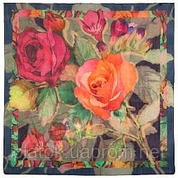 10469-14, павлопосадский платок шерстяной (разреженная шерсть) с швом зиг-заг