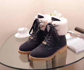 Женские замшевые зимние ботинки UGG синие