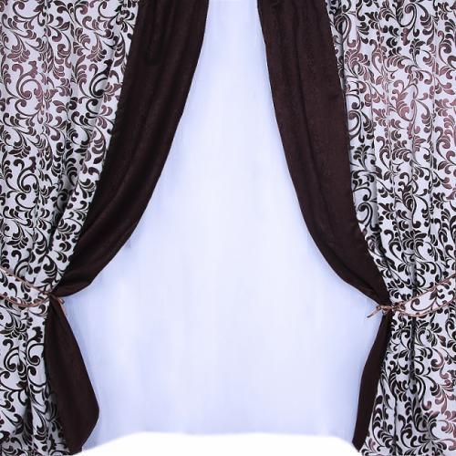Комплект подвійних штор Гобелен + Атлас ( 4 шт) Шокодад + Світло - сірий