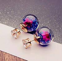 Серьги/сережки круглые прозрачные шарики с кристаллами нарядные «Color style» (синий)