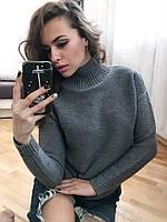 Стильный женский свитер с высоким горлом в сером и бело цвете